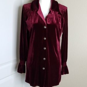 Coldwater Creek crushed velvet button down top
